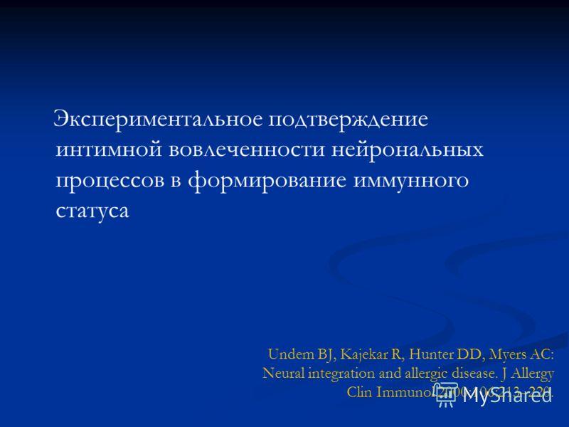 Undem BJ, Kajekar R, Hunter DD, Myers AC: Neural integration and allergic disease. J Allergy Clin Immunol 2000;106:213–220. Экспериментальное подтверждение интимной вовлеченности нейрональных процессов в формирование иммунного статуса