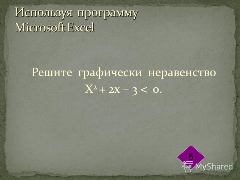 Решите графически неравенство Х 2 + 2х – 3 < 0. 5