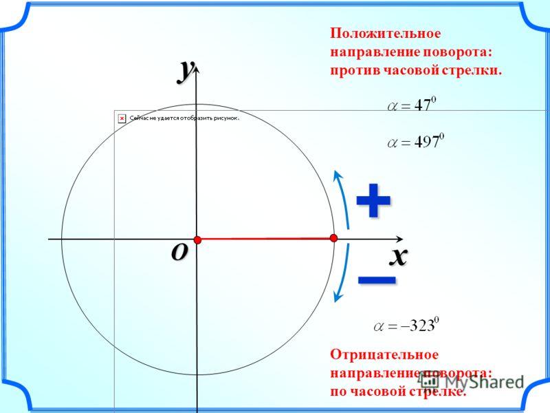 x y O Положительное направление поворота: против часовой стрелки. Отрицательное направление поворота: по часовой стрелке.+ –