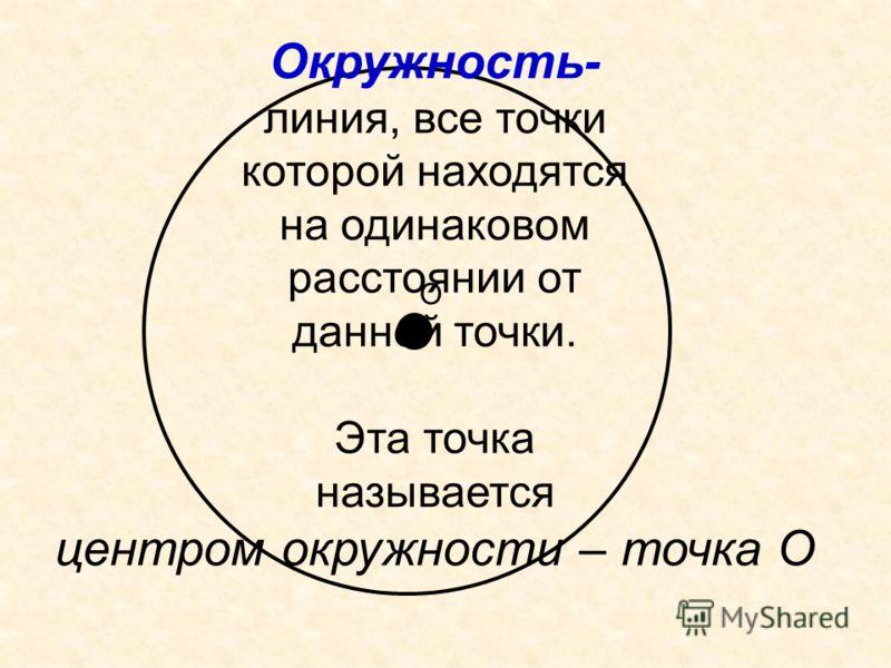 О Окружность- линия, все точки которой находятся на одинаковом расстоянии от данной точки. Эта точка называется центром окружности – точка О