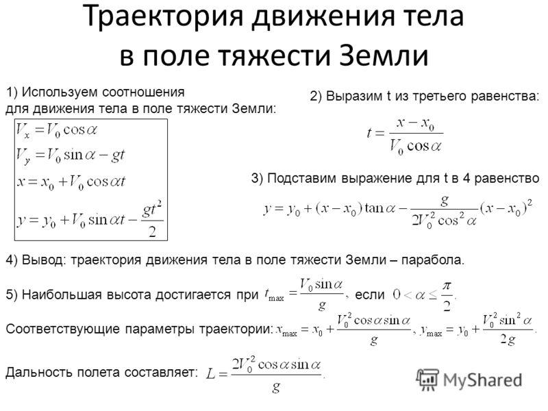 Траектория движения тела в поле тяжести Земли 1) Используем соотношения для движения тела в поле тяжести Земли: 2) Выразим t из третьего равенства: 3) Подставим выражение для t в 4 равенство 4) Вывод: траектория движения тела в поле тяжести Земли – п