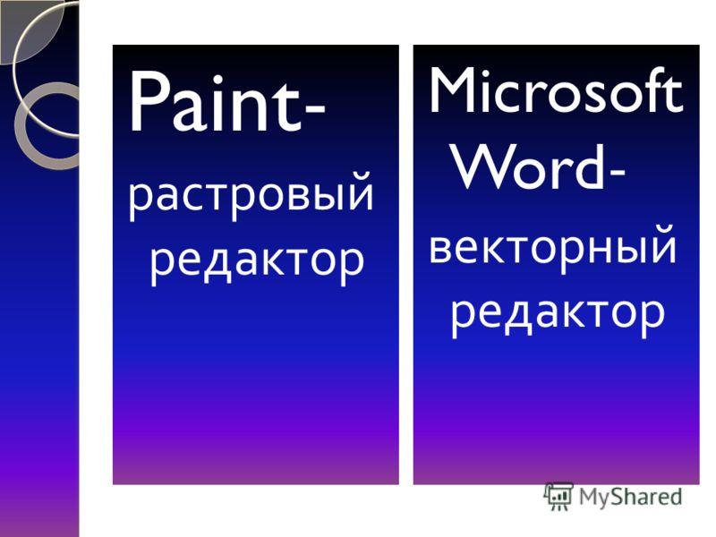 Paint- растровый редактор Microsoft Word- векторный редактор