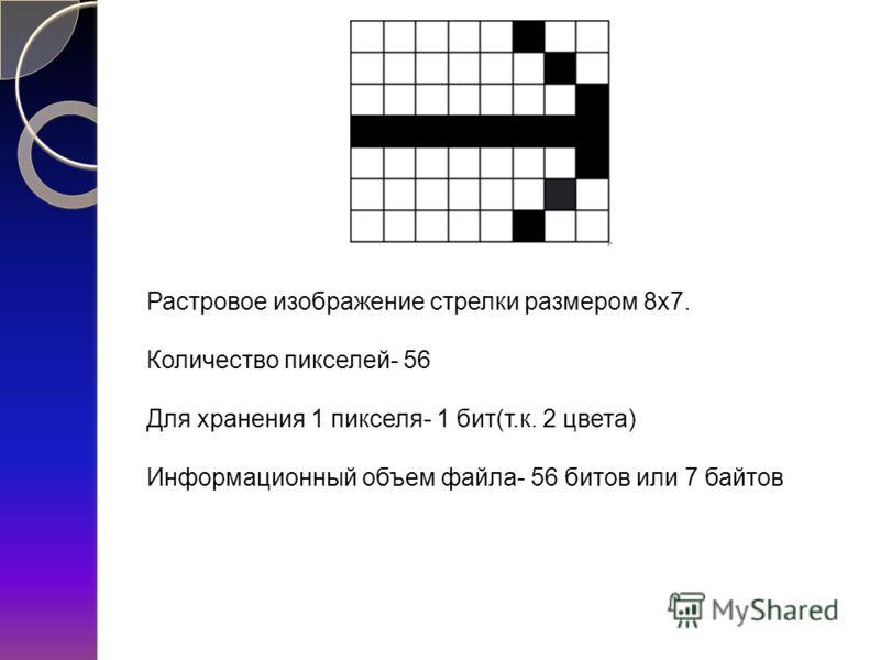 Растровое изображение стрелки размером 8х7. Количество пикселей- 56 Для хранения 1 пикселя- 1 бит(т.к. 2 цвета) Информационный объем файла- 56 битов или 7 байтов