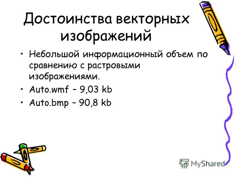 Достоинства векторных изображений Небольшой информационный объем по сравнению с растровыми изображениями. Auto.wmf – 9,03 kb Auto.bmp – 90,8 kb