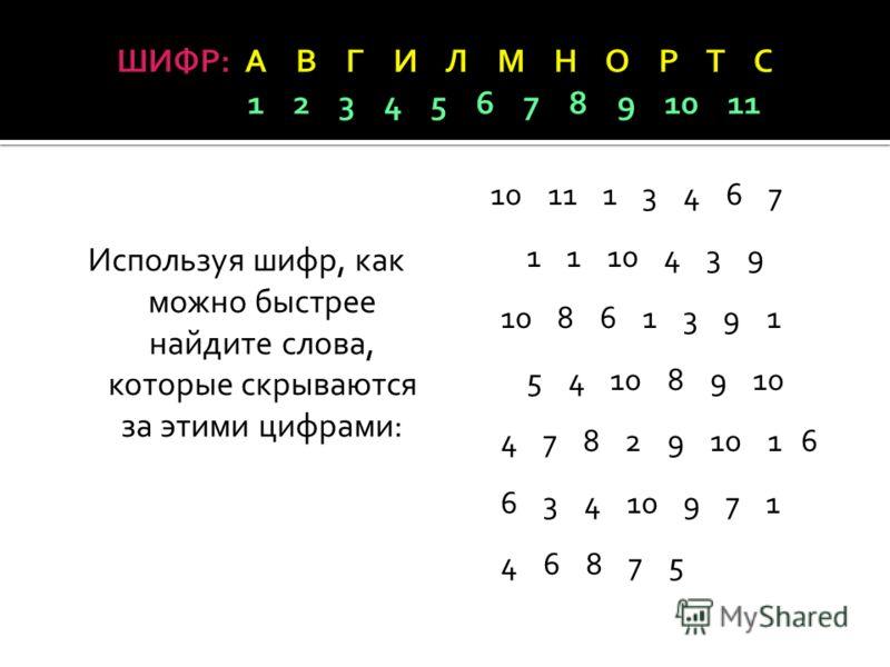 Используя шифр, как можно быстрее найдите слова, которые скрываются за этими цифрами: 10 11 1 3 4 6 7 1 1 10 4 3 9 10 8 6 1 3 9 1 5 4 10 8 9 10 4 7 8 2 9 10 1 6 6 3 4 10 9 7 1 4 6 8 7 5