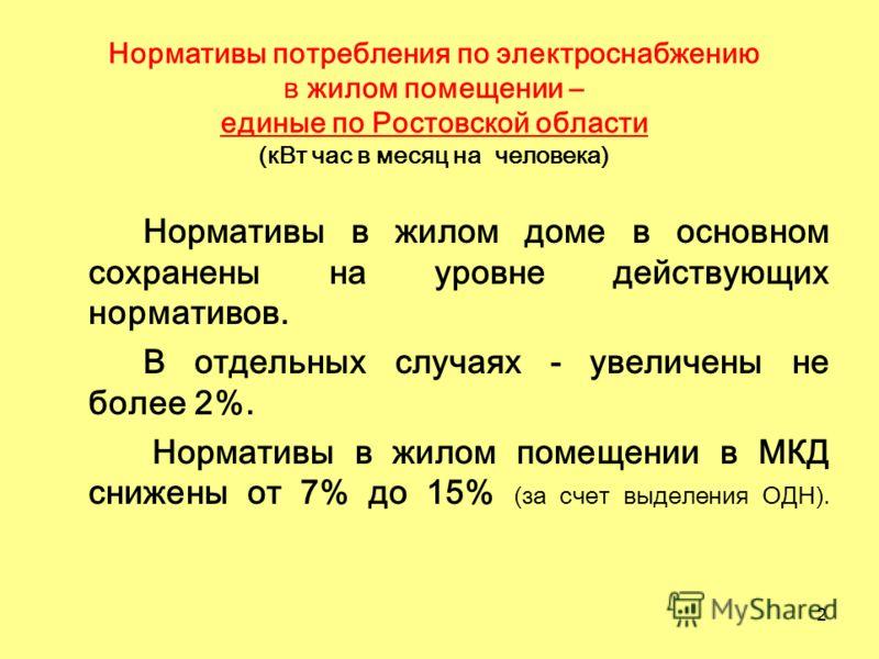 2 Нормативы потребления по электроснабжению в жилом помещении – единые по Ростовской области (кВт час в месяц на человека) Нормативы в жилом доме в основном сохранены на уровне действующих нормативов. В отдельных случаях - увеличены не более 2%. Норм