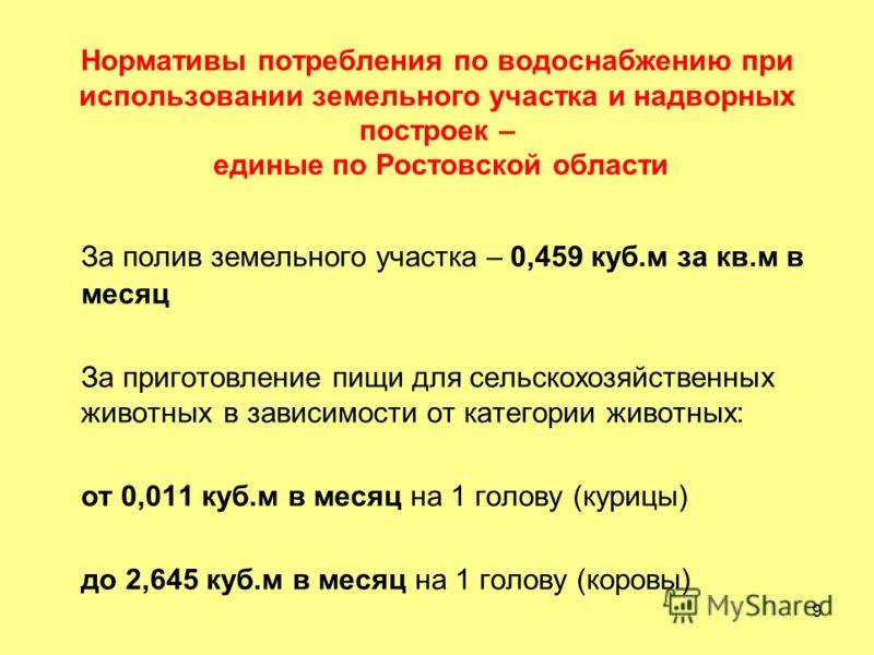 9 Нормативы потребления по водоснабжению при использовании земельного участка и надворных построек – единые по Ростовской области За полив земельного участка – 0,459 куб.м за кв.м в месяц За приготовление пищи для сельскохозяйственных животных в зави