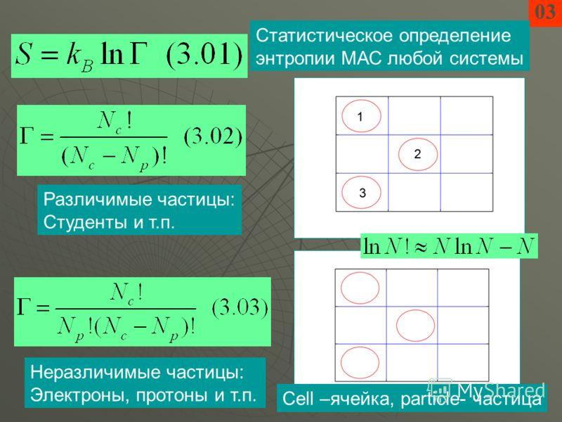 03 Статистическое определение энтропии МАС любой системы Различимые частицы: Студенты и т.п. Cell –ячейка, particle- частица Неразличимые частицы: Электроны, протоны и т.п.