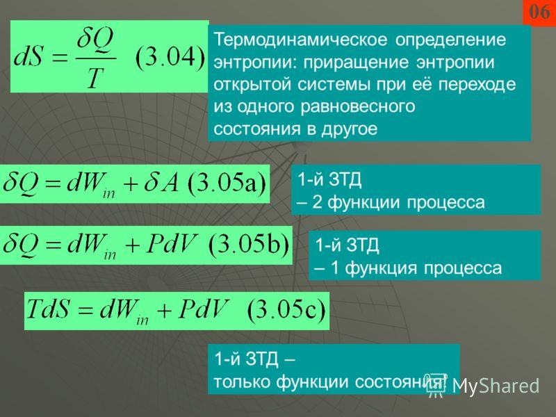 06 Термодинамическое определение энтропии: приращение энтропии открытой системы при её переходе из одного равновесного состояния в другое 1-й ЗТД – 2 функции процесса 1-й ЗТД – 1 функция процесса 1-й ЗТД – только функции состояния!