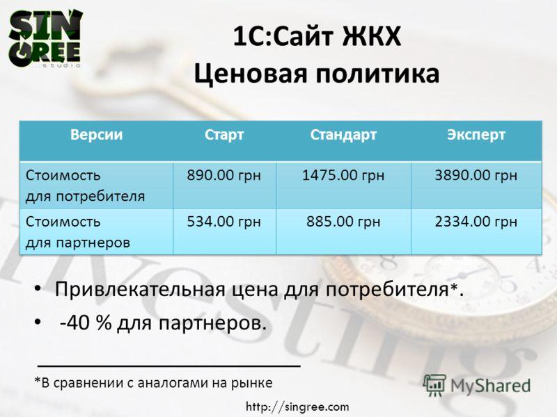 1 С : Сайт ЖКХ Ценовая политика Привлекательная цена для потребителя *. -40 % для партнеров. * В сравнении с аналогами на рынке http://singree.com