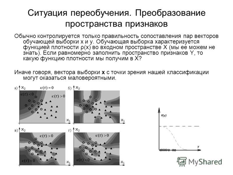 Ситуация переобучения. Преобразование пространства признаков Обычно контролируется только правильность сопоставления пар векторов обучающей выборки x и y. Обучающая выборка характеризуется функцией плотности ρ(x) во входном пространстве X (мы ее може