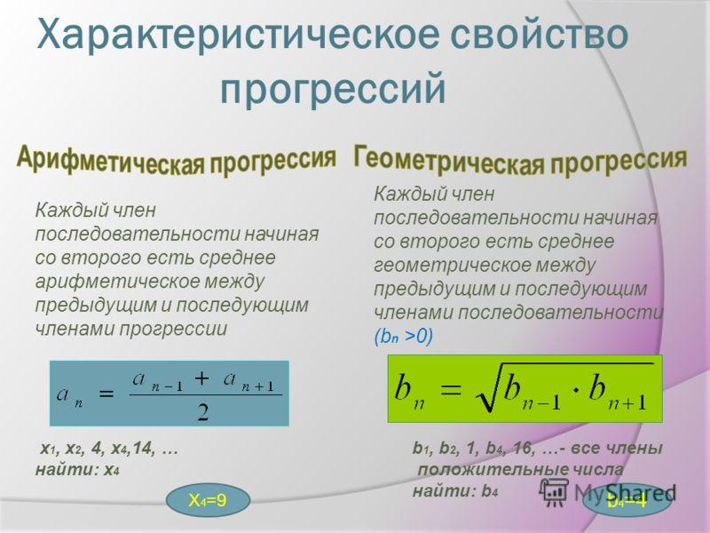 Каждый член последовательности начиная со второго есть среднее арифметическое между предыдущим и последующим членами прогрессии Каждый член последовательности начиная со второго есть среднее геометрическое между предыдущим и последующим членами после