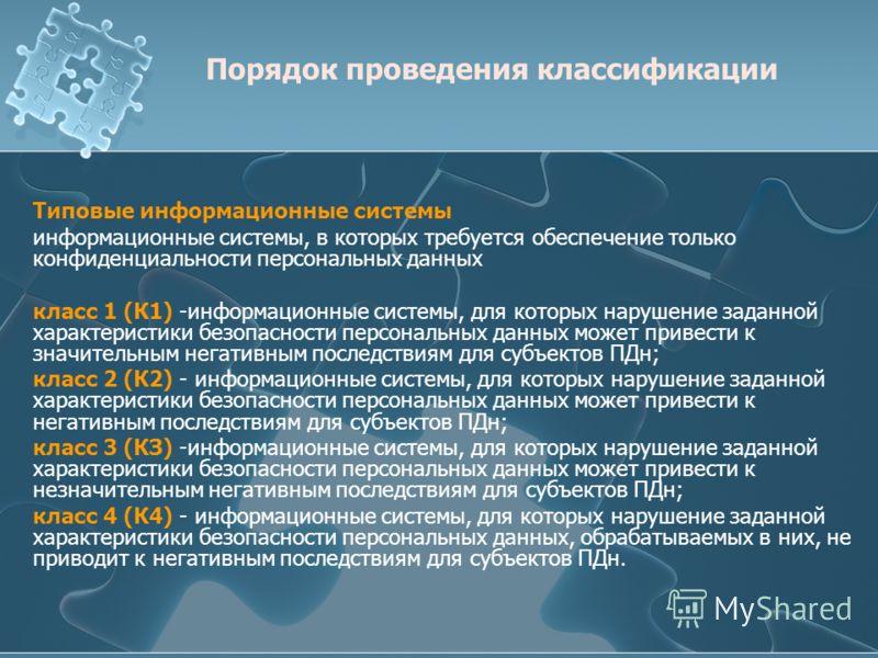 Типовые информационные системы информационные системы, в которых требуется обеспечение только конфиденциальности персональных данных класс 1 (К1) -информационные системы, для которых нарушение заданной характеристики безопасности персональных данных