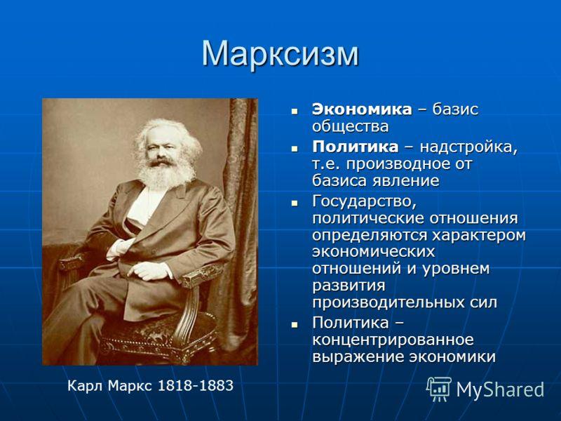 Марксизм Экономика – базис общества Экономика – базис общества Политика – надстройка, т.е. производное от базиса явление Политика – надстройка, т.е. производное от базиса явление Государство, политические отношения определяются характером экономическ