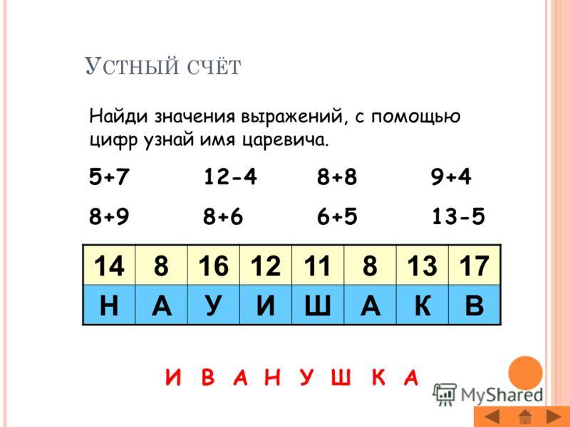 Ц ЕЛИ УРОКА : Продолжить работу по усвоению табличных случаев сложения и вычитания в пределах 20; Совершенствовать умение складывать и вычитать «круглые» десятки; Дополнять двузначные числа до «круглых» десятков; Развивать умение находить в геометрич
