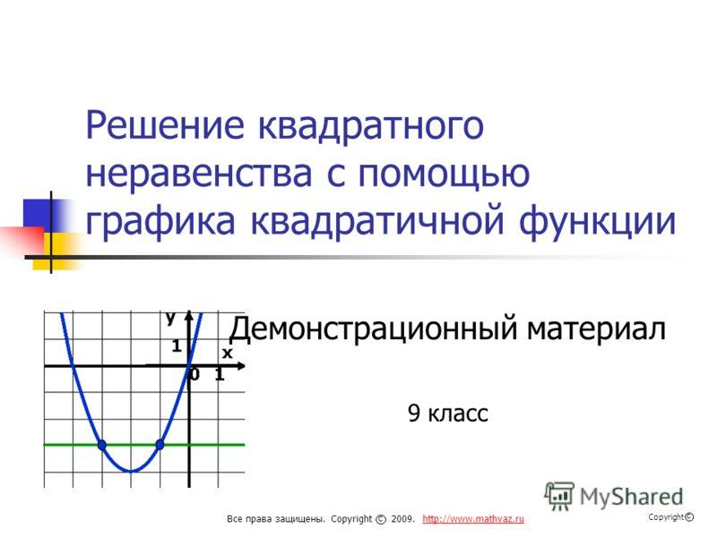 Решение квадратного неравенства с помощью графика квадратичной функции Демонстрационный материал 9 класс Все права защищены. Copyright 2009. http://www.mathvaz.ruhttp://www.mathvaz.ru с Copyright с