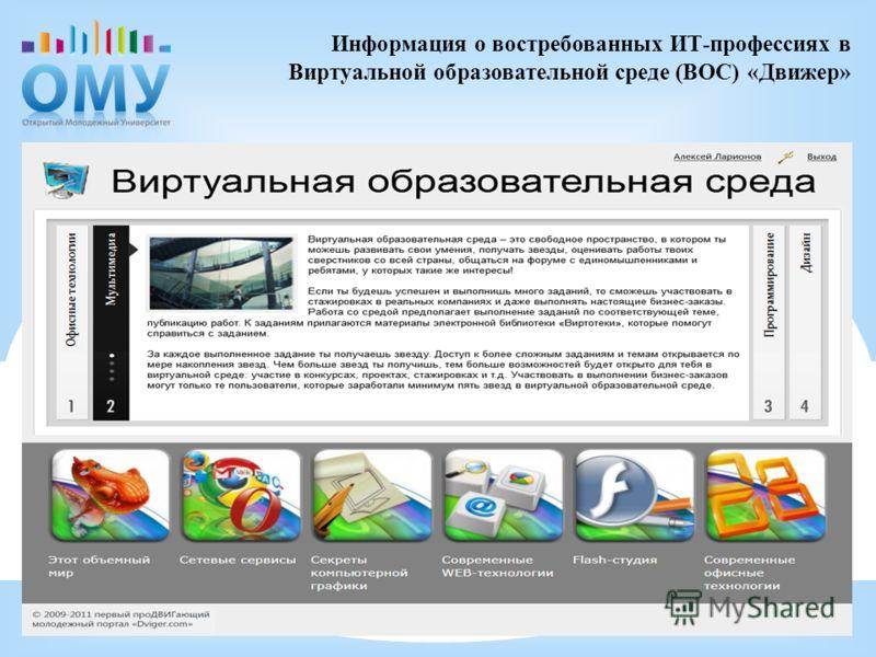 Информация о востребованных ИТ-профессиях в Виртуальной образовательной среде (ВОС) «Движер»