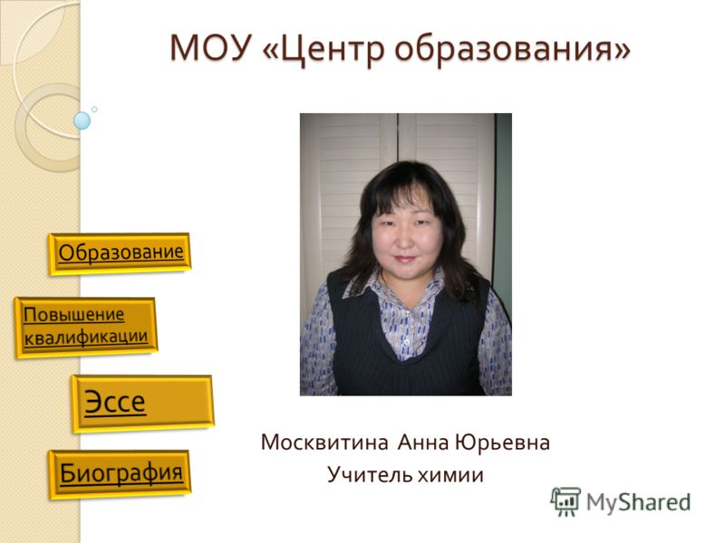 МОУ « Центр образования » Москвитина Анна Юрьевна Учитель химии