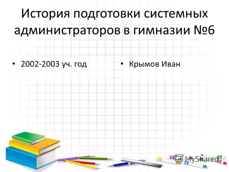 История подготовки системных администраторов в гимназии 6 2002-2003 уч. год Крымов Иван
