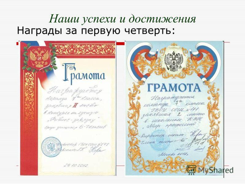Наши успехи и достижения Награды за первую четверть: