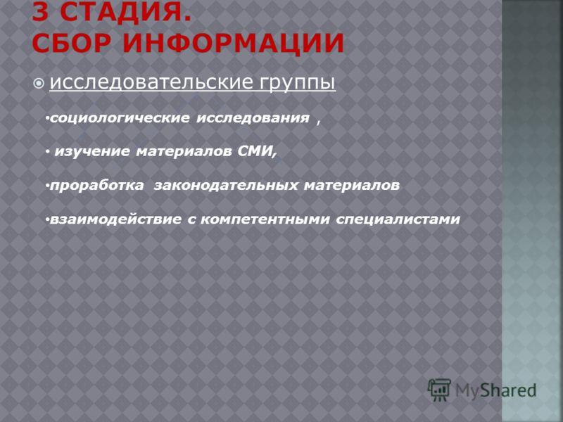 исследовательские группы социологические исследования, изучение материалов СМИ, проработка законодательных материалов взаимодействие с компетентными специалистами