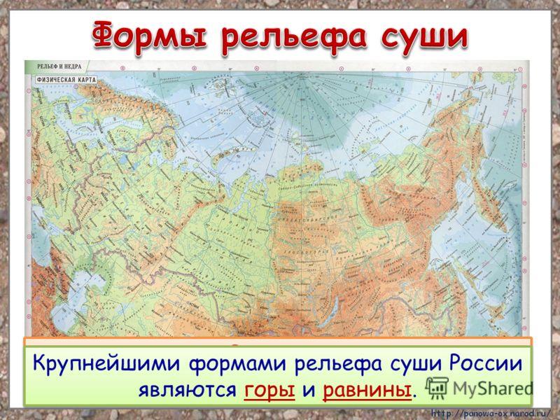 Рельеф – это все неровности Земной поверхности. Рельеф – это все неровности Земной поверхности. Крупнейшими формами рельефа суши России являются горы и равнины.