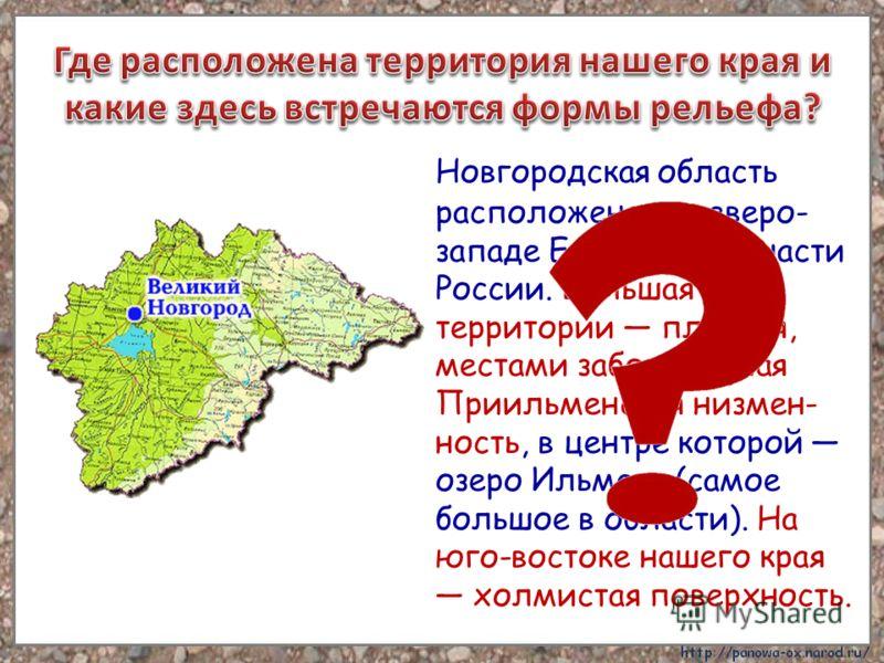 Новгородская область расположена на северо- западе Европейской части России. Большая часть территории плоская, местами заболоченная Приильменская низмен- ность, в центре которой озеро Ильмень (самое большое в области). На юго-востоке нашего края холм