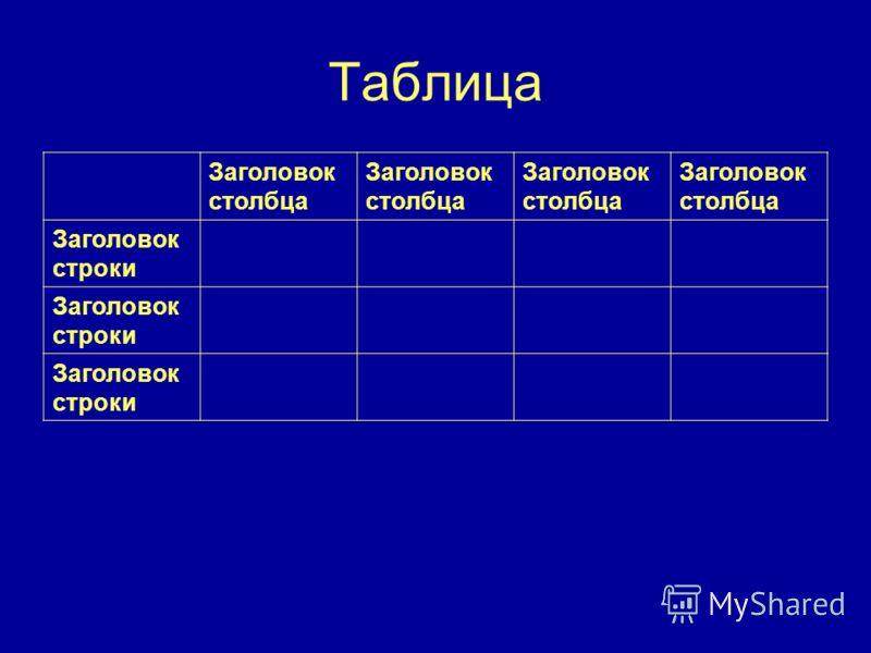 Таблица Заголовок столбца Заголовок строки