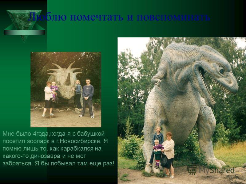 Люблю помечтать и повспоминать Мне было 4года,когда я с бабушкой посетил зоопарк в г.Новосибирске. Я помню лишь то, как карабкался на какого-то динозавра и не мог забраться. Я бы побывал там еще раз!