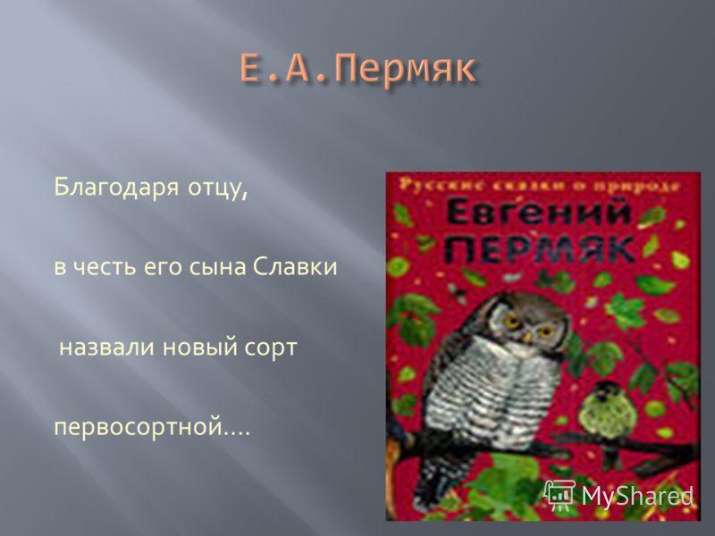 Благодаря отцу, в честь его сына Славки назвали новый сорт первосортной….