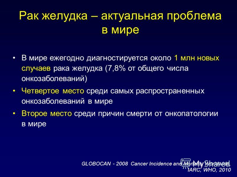 Рак желудка – актуальная проблема в мире В мире ежегодно диагностируется около 1 млн новых случаев рака желудка (7,8% от общего числа онкозаболеваний) Четвертое место среди самых распространенных онкозаболеваний в мире Второе место среди причин смерт