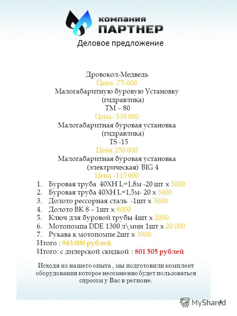 Деловое предложение 1 Дровокол-Медведь Цена -75 000 Малогабаритную буровую Установку (гидравлика) ТМ – 80 Цена- 330 000 Малогабаритная буровая установка (гидравлика) TS -15 Цена 250 000 Малогабаритная буровая установка (электрическая) BIG 4 Цена -115