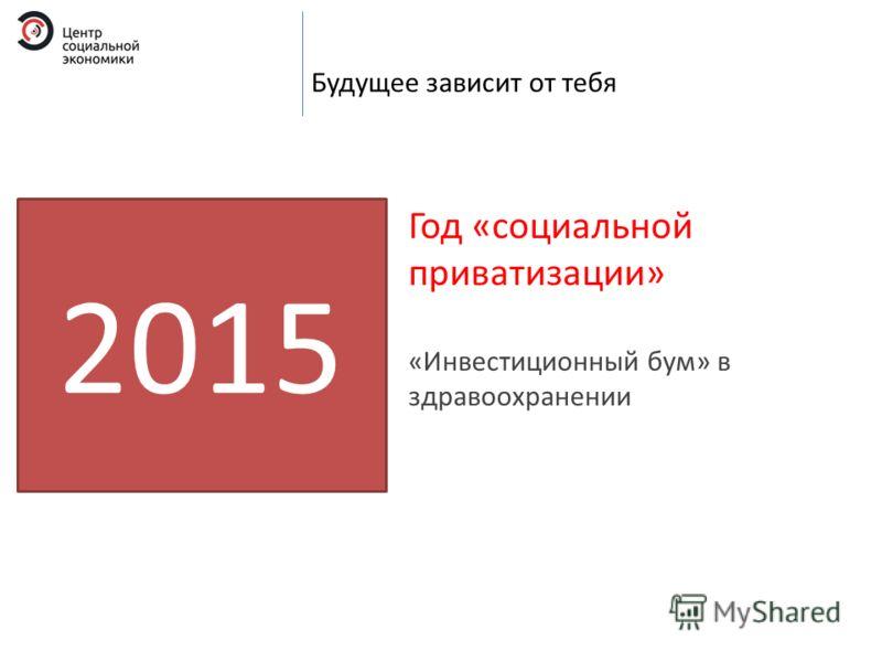 Будущее зависит от тебя 2015 Год «социальной приватизации» «Инвестиционный бум» в здравоохранении