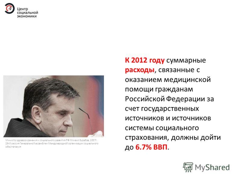 К 2012 году суммарные расходы, связанные с оказанием медицинской помощи гражданам Российской Федерации за счет государственных источников и источников системы социального страхования, должны дойти до 6.7% ВВП. Министр здравоохранения и социального ра