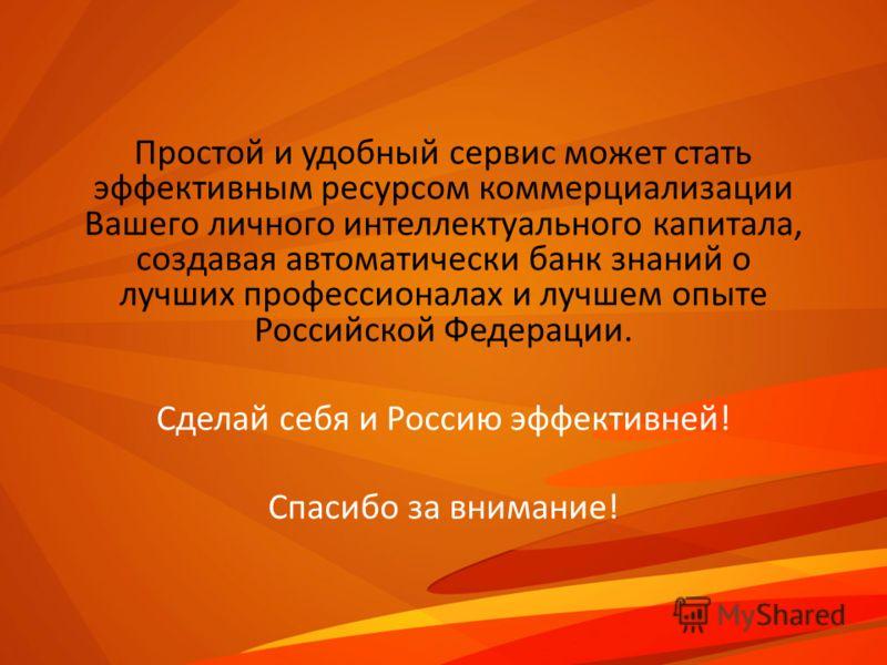 Простой и удобный сервис может стать эффективным ресурсом коммерциализации Вашего личного интеллектуального капитала, создавая автоматически банк знаний о лучших профессионалах и лучшем опыте Российской Федерации. Сделай себя и Россию эффективней! Сп