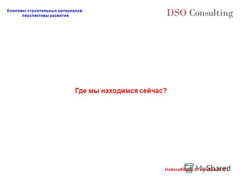 Комплекс строительных материалов: перспективы развития Новосибирск, 31 октября 2012 г. Где мы находимся сейчас?