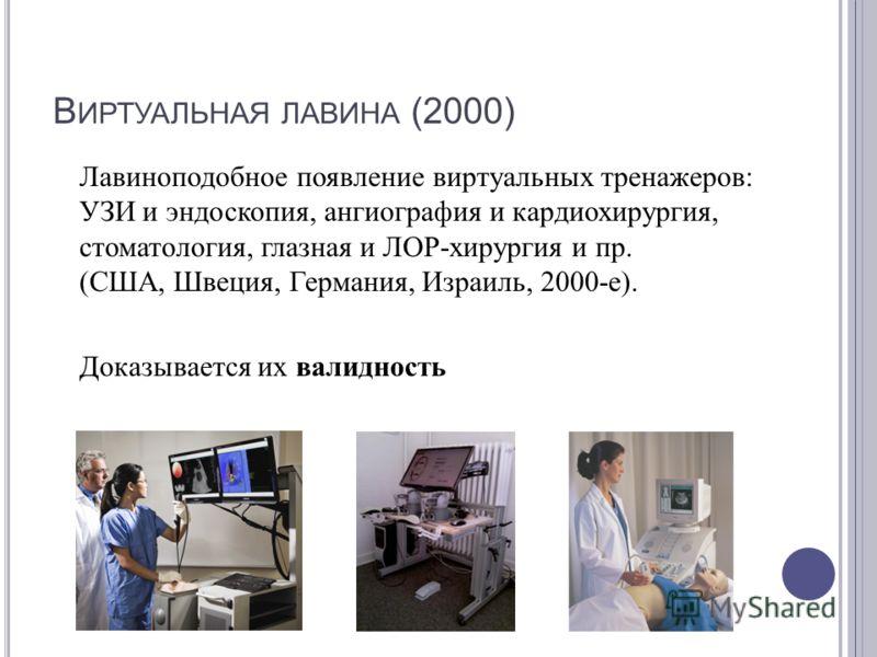 В ИРТУАЛЬНАЯ ЛАВИНА (2000) Лавиноподобное появление виртуальных тренажеров : УЗИ и эндоскопия, ангиография и кардиохирургия, стоматология, глазная и ЛОР - хирургия и пр. ( США, Швеция, Германия, Израиль, 2000- е ). Доказывается их валидность