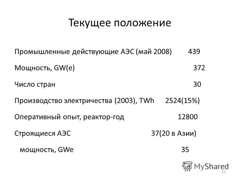 12 Текущее положение Промышленные действующие АЭС (май 2008) 439 Мощность, GW(e) 372 Число стран 30 Производство электричества (2003), TWh 2524(15%) Оперативный опыт, реактор-год 12800 Строящиеся АЭС 37(20 в Азии) мощность, GWe 35
