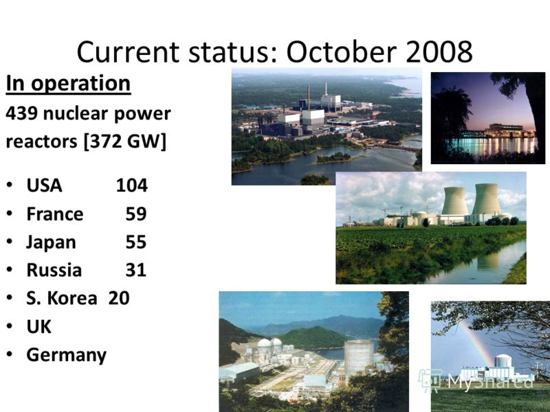 Current status: October 2008 In operation 439 nuclear power reactors [372 GW] USA104 France 59 Japan 55 Russia 31 S. Korea 20 UK Germany