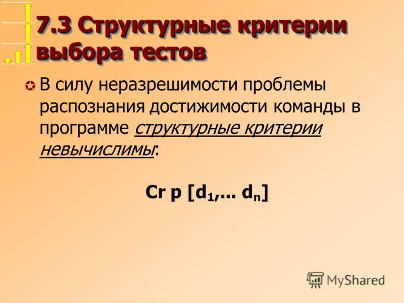 7.3 Структурные критерии выбора тестов µ В силу неразрешимости проблемы распознания достижимости команды в программе структурные критерии невычислимы: Cr p [d 1,... d n ]