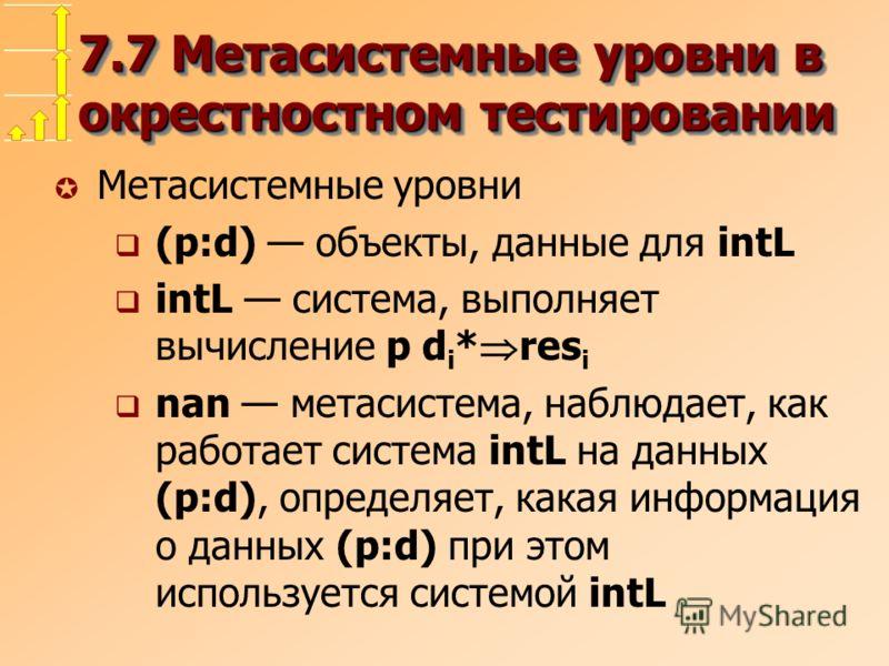 7.7 Метасистемные уровни в окрестностном тестировании µ Метасистемные уровни (p:d) объекты, данные для intL intL система, выполняет вычисление p d i * res i nan метасистема, наблюдает, как работает система intL на данных (p:d), определяет, какая инфо