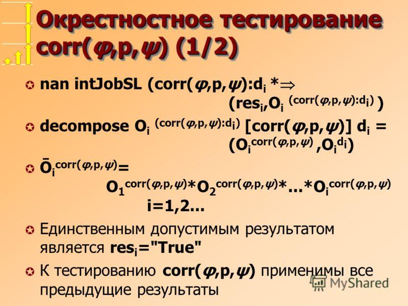 Окрестностное тестирование corr(φ,p,ψ) (1/2) µ nan intJobSL (corr(φ,p,ψ):d i * (res i,O i (corr(φ,p,ψ):d i ) ) µ decompose O i (corr(φ,p,ψ):d i ) [corr(φ,p,ψ)] d i = (O i corr(φ,p,ψ),O i d i ) µ Ō i corr(φ,p,ψ) = O 1 corr(φ,p,ψ) *O 2 corr(φ,p,ψ) *...
