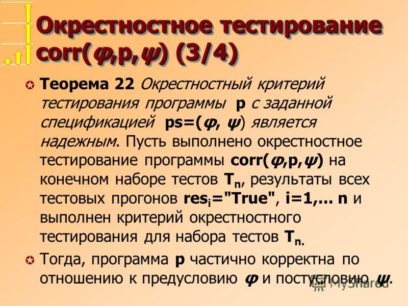 Окрестностное тестирование corr(φ,p,ψ) (3/4) µ Теорема 22 Окрестностный критерий тестирования программы p с заданной спецификацией ps=(φ, ψ) является надежным. Пусть выполнено окрестностное тестирование программы corr(φ,p,ψ) на конечном наборе тестов