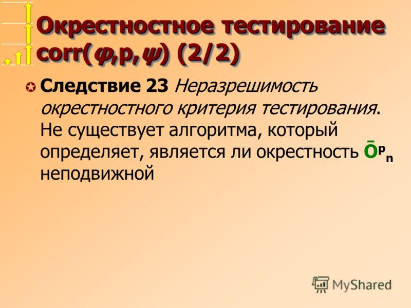 Окрестностное тестирование corr(φ,p,ψ) (2/2) µ Следствие 23 Неразрешимость окрестностного критерия тестирования. Не существует алгоритма, который определяет, является ли окрестность Ō p n неподвижной