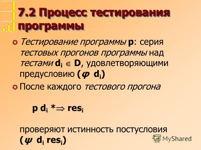 7.2 Процесс тестирования программы µ Тестирование программы p: серия тестовых прогонов программы над тестами d i D, удовлетворяющими предусловию (φ d i ) µ После каждого тестового прогона p d i * res i проверяют истинность постусловия (ψ d i res i )