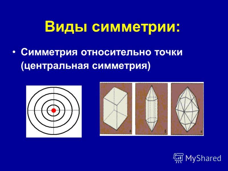 Виды симметрии: Симметрия относительно точки (центральная симметрия)