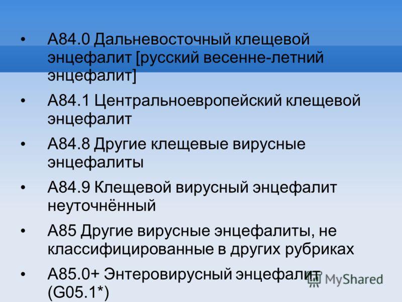 A84.0 Дальневосточный клещевой энцефалит [русский весенне-летний энцефалит] A84.1 Центральноевропейский клещевой энцефалит A84.8 Другие клещевые вирусные энцефалиты A84.9 Клещевой вирусный энцефалит неуточнённый A85 Другие вирусные энцефалиты, не кла