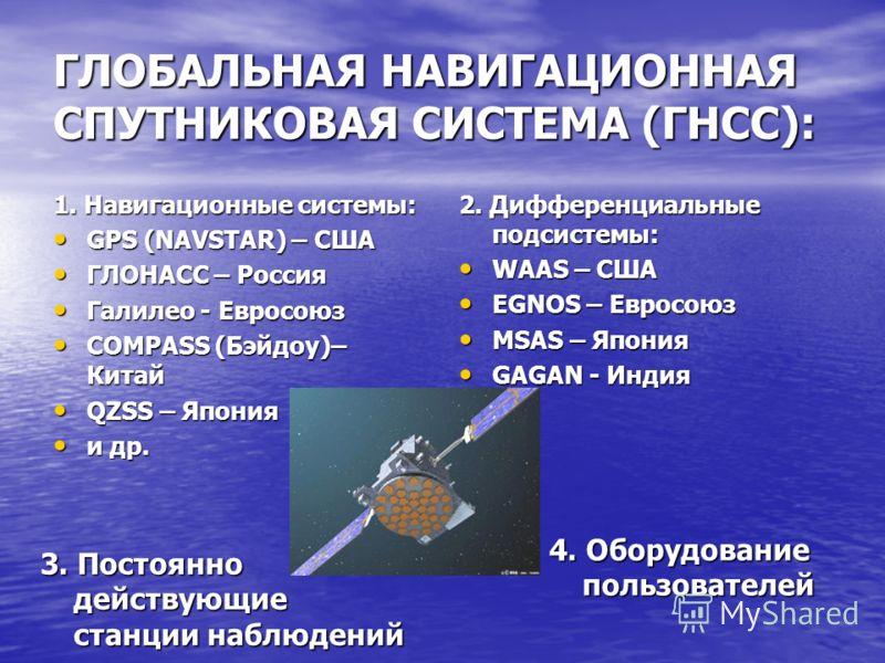 ГЛОБАЛЬНАЯ НАВИГАЦИОННАЯ СПУТНИКОВАЯ СИСТЕМА (ГНСС): 1. Навигационные системы: GPS (NAVSTAR) – США GPS (NAVSTAR) – США ГЛОНАСС – Россия ГЛОНАСС – Россия Галилео - Евросоюз Галилео - Евросоюз COMPASS (Бэйдоу)– Китай COMPASS (Бэйдоу)– Китай QZSS – Япон