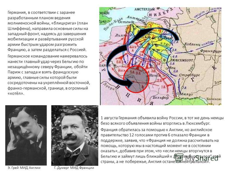 Германия, в соответствии с заранее разработанным планом ведения молниеносной войны, «блицкрига» (план Шлиффена), направила основные силы на западный фронт, надеясь до завершения мобилизации и развёртывания русской армии быстрым ударом разгромить Фран