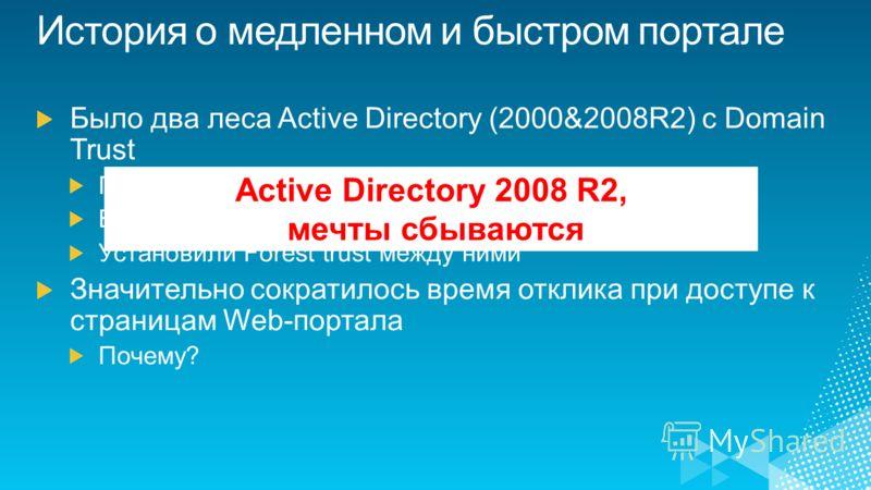 Active Directory 2008 R2, мечты сбываются